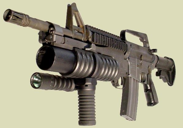 The M203grip manufactured by RM Equipment is mounted with the Tactical Light Module on the M203PI 40mm Grenade Launcher also manufactured by RM Equipment.