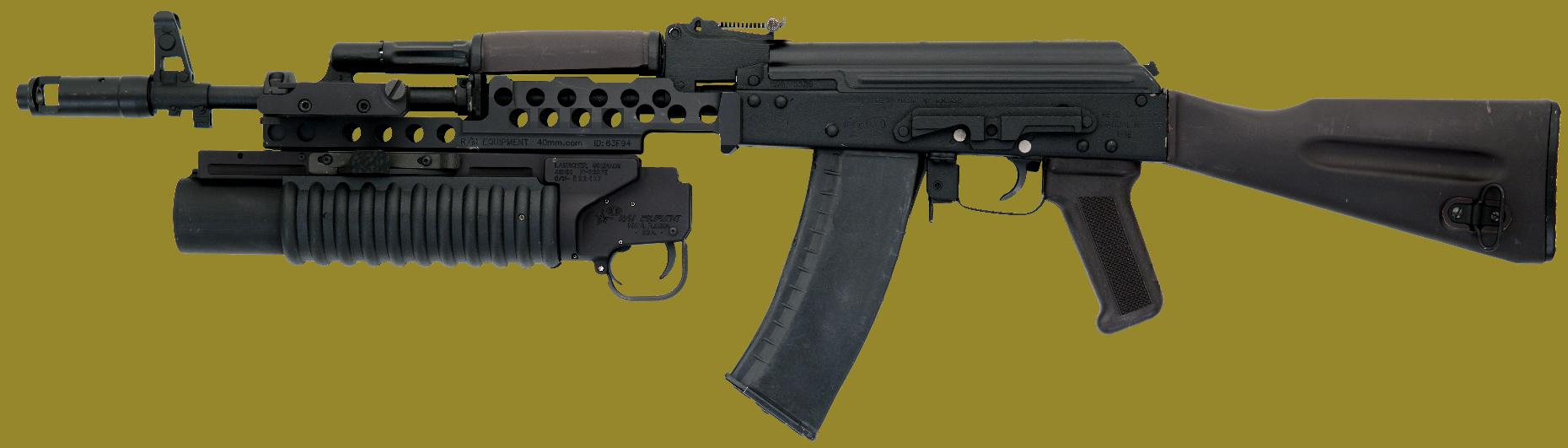 M203 40mm grenade launcher EGLM on the AK rifle.