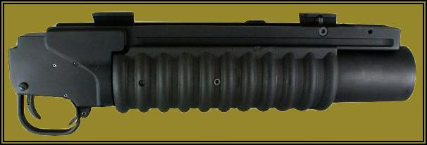 Photo of the M203PI 40mm Enhanced Grenade Launcher Module (EGLM), a quick-connect version of the M203 grenade launcher.